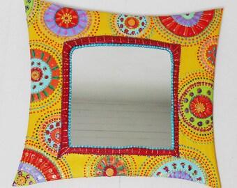 mirror round multicolored painting 48 X 48 cm
