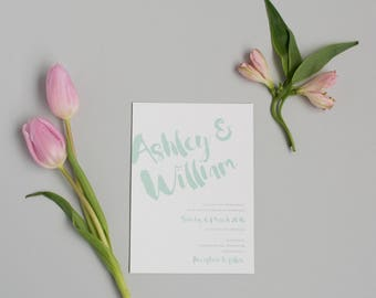 Rustic Mint Wedding Invitation and RSVP - Modern Minimal Wedding Invitation - Pastel Wedding Invite