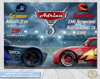 Cars 3 Birthday Invitation.Cars 3 Invitation. Cars 3 Party Invitation.Personalized Birthday Invitation.Invitations.Cars 3 Invitations.Cars 3