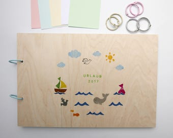 Sea holiday memory album wood can be customized