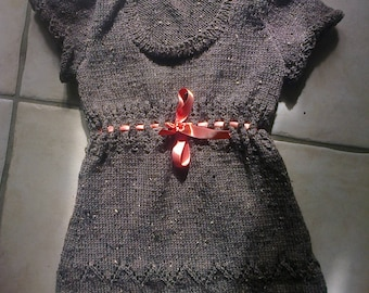 Dress knitted girl hands Heather wool brown chocolate color 6 years