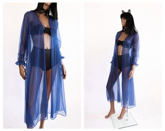 Blue Sheer Chiffon Nightie Jacket 1960s Babydoll Negligee 70s Lingerie Boudoir 1970s Nightgown Lace Robe Shirt Top 60s Dolly Pinup Medium