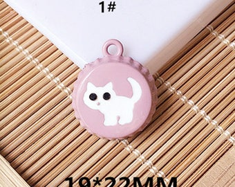10pcs/lot Cute Animal Cat Charms Pendant Jewelry,Enamel Beer Bottle Cap Charms Pendants Diy Accessories