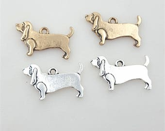 20Pcs Antique Dachshund Dog Charms Pendant,Animal Metal Charms Jewelry Pendants Jewelry Making 2 Colors