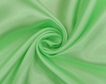 "Sea Green Shiny Fabric, Dress Material, Silk Satin Fabric, Sewing Fabric, 44"" Inch Indian Fabric By The Yard PFSS1G"