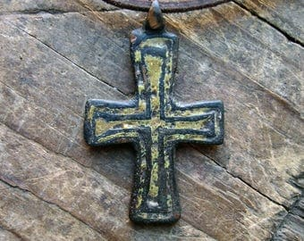 Very rare Ancient Medieval bronze cross-pendant 12th-14th Century AD filled with yellow glass paste Crusaders period artifact antique cross