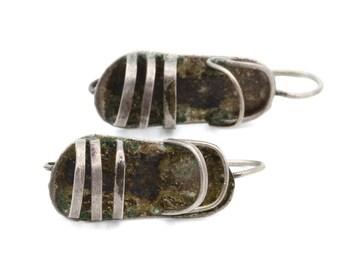 Mexican Sandal Drop Earrings, Signed Silver Antique 1940s, Sterling Earrings, Flip Flop Shoe Earrings, Beach Sandals, Old Mexico Jewelry