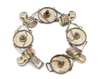 Sterling Charm Bracelet, Mexican Silver Bracelet, Antique 1940s Jewelry, Western Sombrero Hat, Southwestern Jewelry, Folk Mexican Souvenir