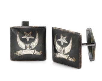 Mens Cuff Links, Muslim Islamic Jewelry, Antique 1930s Jewelry, 925 Sterling Silver CuffLinks, Sword Moon And Star, The Shriners Cufflinks