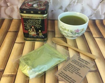 Sun and Moon Matcha Tea Blend Stone Ground Green Tea and Tumeric Powders Gift Tin with Wooden Spoon and Latte Recipe 1.5 oz