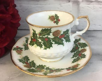 Queen's Rosina Yuletide Tea Cup and Saucer Fine Bone China Vintage England Made Holly Berry Pinecone