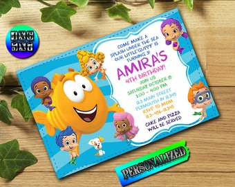 Bubble Guppies Birthday Invitation,Bubble Guppies Invitation,Bubble Guppies Birthday,Bubble Guppies Invite,Bubble Guppies,Girl Invitation FD