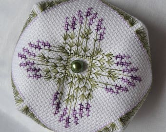 Handmade Completed Lavender Bouquet Biscornu Pincushion