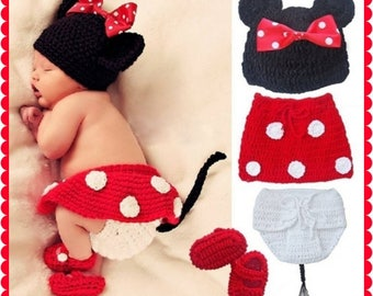 Newborn, Minnie Mouse,  Crocheted Baby Hat with Bow,  Crocheted Diaper Cover, Tutu Skirt and Shoes