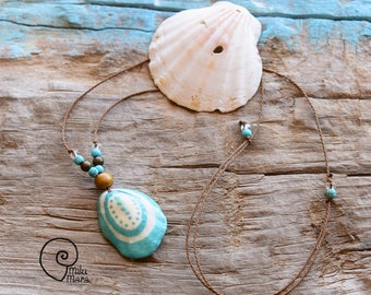 Surf style shell handpainted ethnic symbol necklace