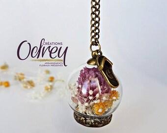 WIND-up Globe terrarium, botanical jewelry, glass flower pendant natural, Globe, lucky charm, rear view mirror Decoration