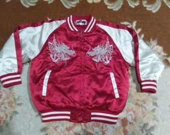 vintage sukajan satin jacket dragon embroidered size 110 for kids