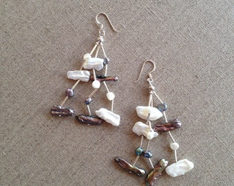 Sterling silver and pearl pierced earrings
