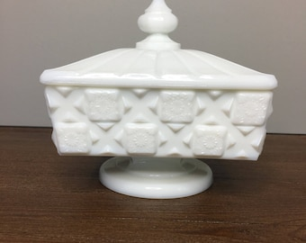Vintage Westmoreland Old Quilt / Block & Star Milk Glass Compote with Lid - Wedding