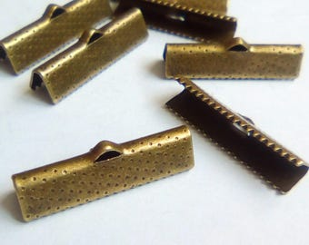 4 25x16mm bronze metal Ribbon ties