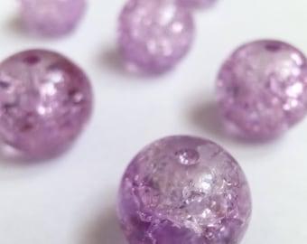 10 purple 10mm Crackle glass beads