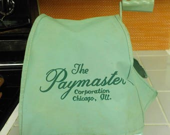 Turquoise - Aqua PAYMASTER S-1000 CHECK EMBOSSER Protector Machine With Key And Dust Cover. Excellent Condition. Made in Chicago Mid Century