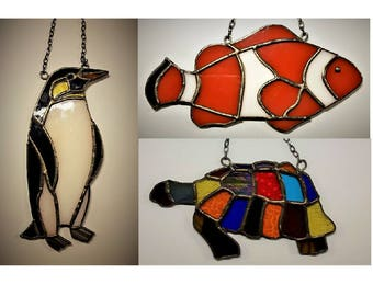 Stained glass multicolored tortoise turtle anemone finding Nemo clown fish penguin sea life mobile suncatcher animal spirit totem occult
