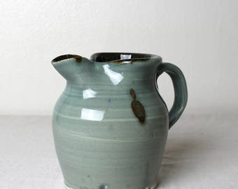 Handmade Stoneware Small Cloudy Blue Pitcher Handmade Pottery