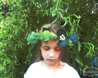 Eucalyptus floral crown flower hair wreath boho wedding hair accessories silk flowers bridal crown foliage greenery headpiece