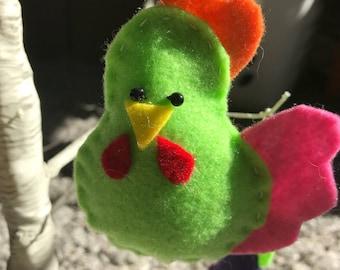 Felt chicken ornament