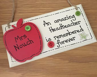 Personalised Teacher plaque, Teaching Assistant plaque, Teachers thank you gift, end of term gift.