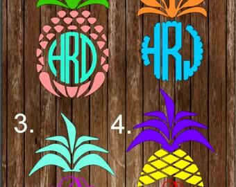 Pineapple Decal, Monogrammed Pineapple Decal, pineapple, monogram