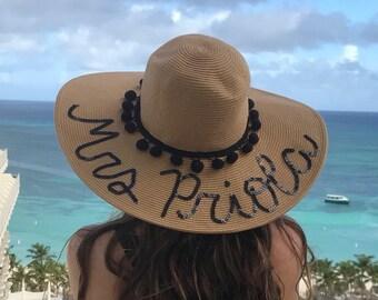 Bride Floppy hat | Custom Sequin Floppy Sun Hat | Mrs. Floppy Hat | Bride Beach Hat
