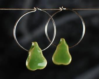 "Ceramic earrings ""pear"" green"