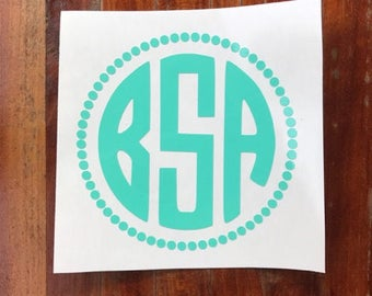 Circle Monogram Decal- Vinyl Decal for Personalization