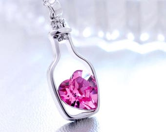 Heart in a bottle necklace New Fashion Crystal Necklace Woman's Jewelry Love Drift Bottles Pendant Chain Rhinestone Popular Necklace