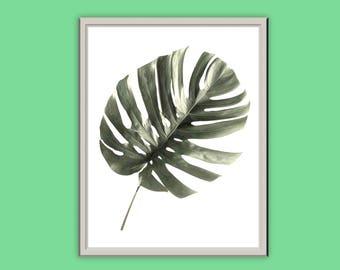 Green Tropical Leaf Print // Typography Print // Home Decor // Wall Art // A3 A4 A5