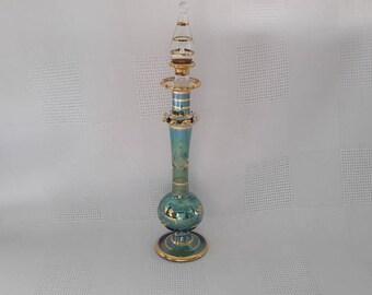 Egyptian Blown Blue Glass Perfume Bottle