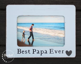 Custom Best Papa Ever Picture Frame 4x6- Personalized Gift for Dad from Son - Pregnancy Reveal to Grandparents - New Dad Gift - Grandpa Gift