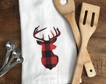 Buffalo Plaid Deer Silhouette Dish Towel - Red and Black Checkered Log Cabin Buck Decor Flour Sack Towel  - Farmhouse Decor Winter Towel