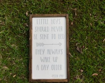 Little Boys Should Never Be Sent To Bed Sign, Little Boys Sign, Peter Pan, Boy Bedroom Decor, Baby Gift, Nursery, Peter Pan Wall Decor
