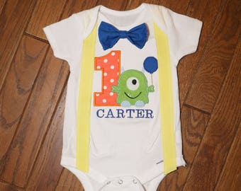 This Little Monster Is One Suspenders and Bow Tie Birthday Shirt