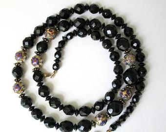 SALE Vintage Cloisonne Black Beads Necklace