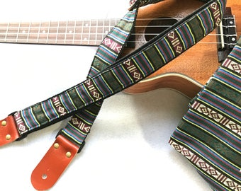 "Pre-launch Proto Sale! NuovoDesign ""Maya"" Ukulele strap, Whisky color leather ends.  Tie string & end pin included"
