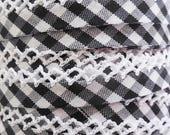 Black Bias Tape - Gingham Crochet Edge Double Fold - Picot Bias Tape - Black Quilt Binding - Sewing Binding - Bias Tape by the Yard
