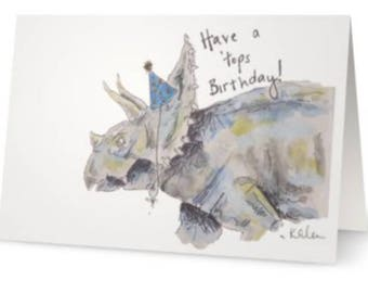 Dinosaur Birthday Card (Triceratops)