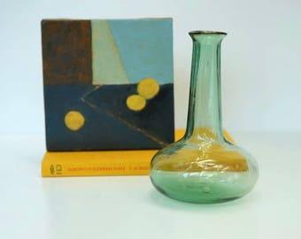 Vintage Green Glass Hand Blown Decanter, Antique glass,