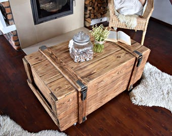 Vintage Antique Old big Army military Chest Trunk Box coffee table Shabby Chic brown cottage chic loft industrial on wheels fittings  stee