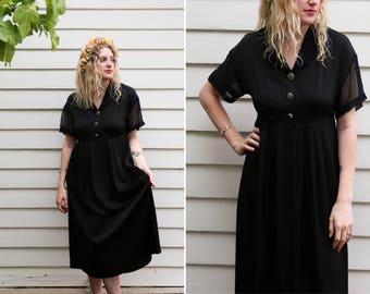 1990's Vintage Black Baby Doll Dress // Sheer Collared Black Button Down Little Black Dress