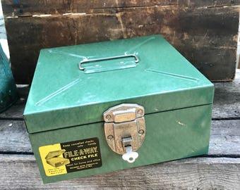Vintage Ballonoff Porta-file Box | Industrial Metal Box | Green Colored Metal Box | Check File Storage Box With Key| Stash Box | File-A-Way